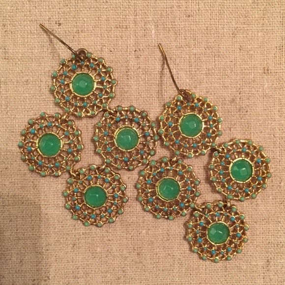 Stella And Dot Green Chandelier Earrings